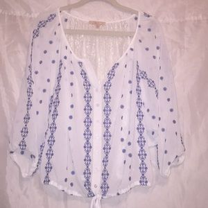 Gibson Latimer sheer & lace peasant shirt Sz XL ⭐️
